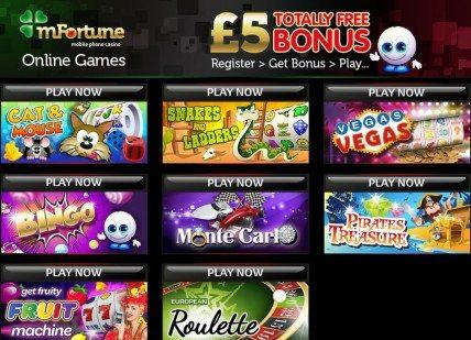 mFortune's Online Casino Free Bonus